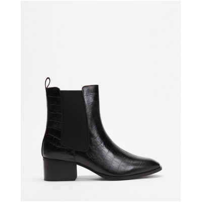 Atmos&Here Women Felicity Leather Ankle Boots Black Croc Embossed Leather SFRJYPU