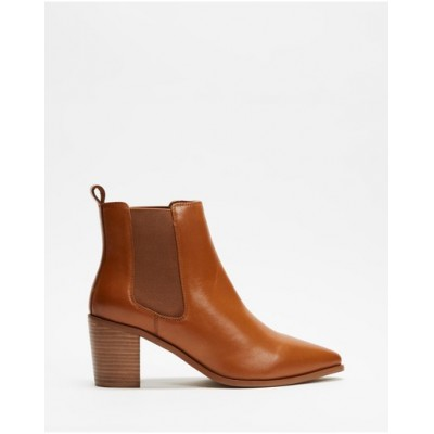 Atmos&Here Women Sorla Leather Ankle Boots Tan Leather in new look BVHMHRJ