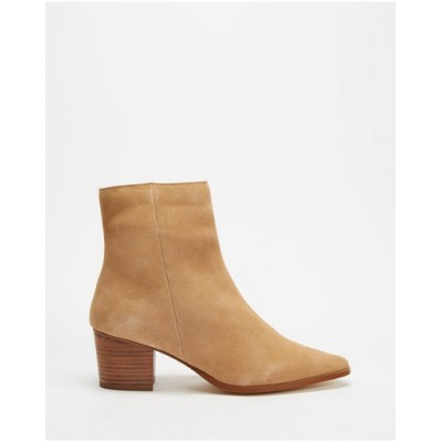 Atmos&Here Women Jackson Leather Ankle Boots Camel Suede DIWHLYQ