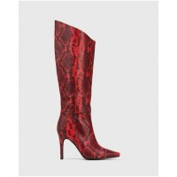 Wittner Women Herodes Anaconda Leather Stiletto Heel Long Boots Red Ships Free WFGIWNV