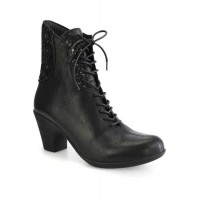 Women Cloud Women's Jalil Chunky Heel Lace-Up Boot Black New Arrival MLFK7089