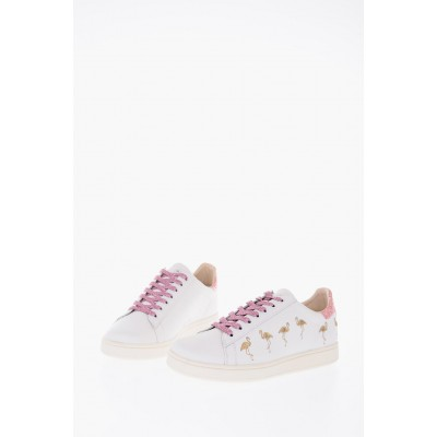 Women All Overs Embroidered Flamingos leather ACTIVE Sneakers MOA Master of Arts for working out Casual YFGF971