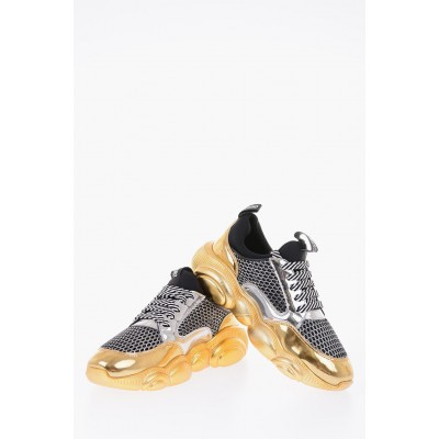 Women COUTURE! Leather and fabric teddy sneakers Moschino 2021 New ORLX541