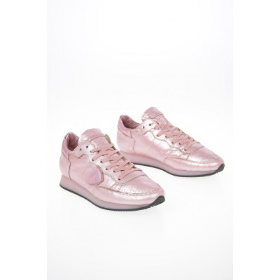 Women Cracked Leather TROPEZ Sneakers Philippe Model Paris for wide feet On Line LCFY349
