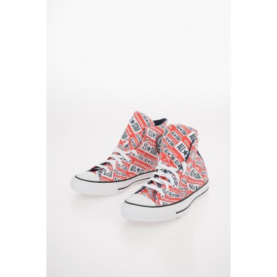 Women CHUCK TAYLOR ALL STAR All Over Logo-Print High-top Sneakers Converse for walking Fit BLKC270