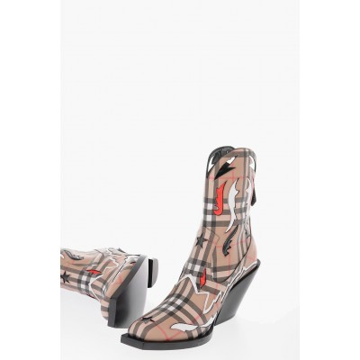 Women 9.5cm leather and fabric MATLOCK Western boots with zip closure Burberry slip on Fashion VXTI821
