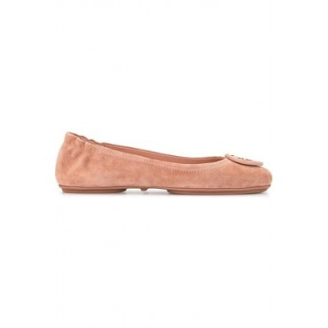 Women Tory Burch Logo plaque ballerina shoes Pink Leather Wide fit Trending XXOL327