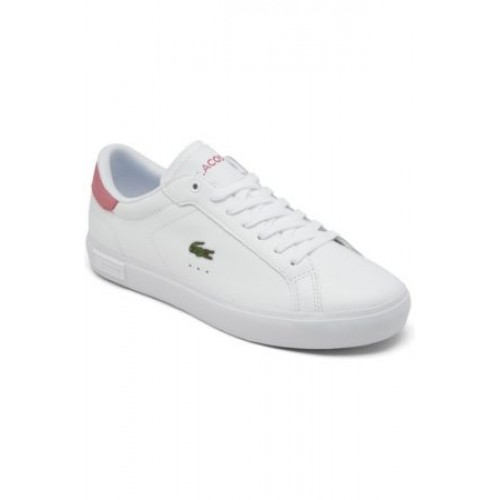 Women Leased Lacoste Women's Powercourt Casual Sneakers from Finish Line Pink / White Leather Casual JRSM3048