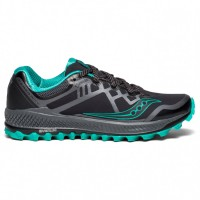 Saucony Women's Peregrine 8 GTX - Trail running shoes Black \/ Grey \/ Green Womne - Outdoor shoes Shop UFBHJQC