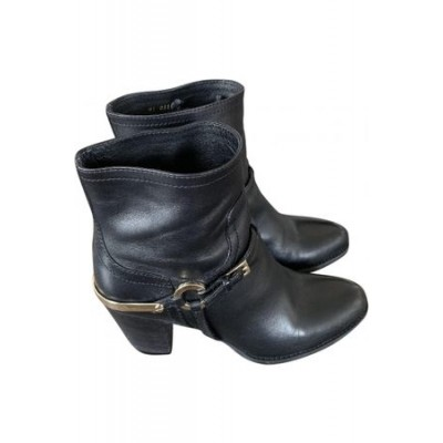 Women Dior Leather biker boots Black Leather spring 2021 FWIV7706