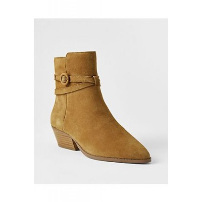 Women ANN TAYLOR Suede Western Ankle Booties GMID2147