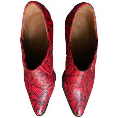 Women Chloé Rylee leather western boots Red Leather cool designs UPZQ9063