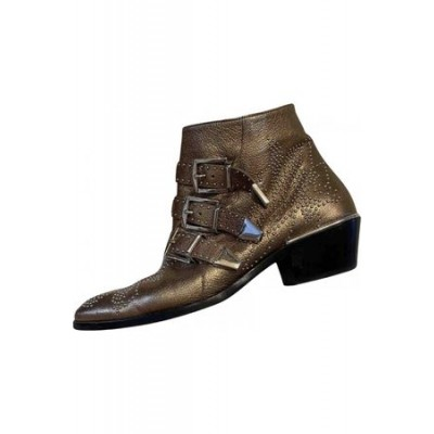 Women Chloé Susanna leather western boots Gold / Silver Leather size 3 Or Sale Near Me ZXQG8943