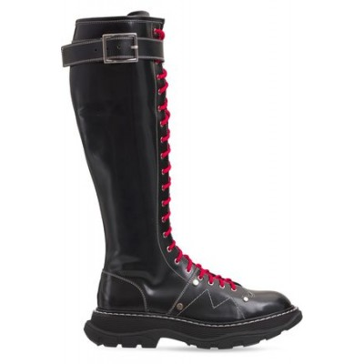 Women Alexander McQueen 40mm Treaded Tall Brushed Leather Boots Black Leather Selling Well ONQQ4120