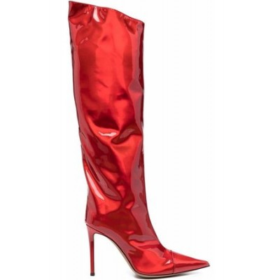 Women ALEXANDRE VAUTHIER Knee-high stiletto boots Red Leather Wide fit Cut Off QEGQ4846