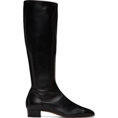 Women By Far Black Edie Tall Boots Black Leather New Style VAWC5034