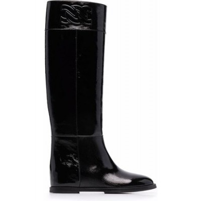 Women Casadei C-Chain knee-length leather boots Black Leather on style CUFB4665