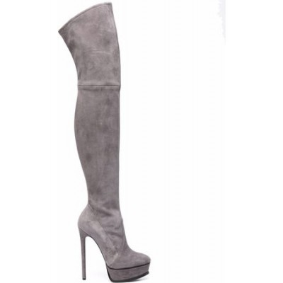 Women Casadei Flora over-the-knee 140mm boots - Grey Gray Suede size 5.5 quality POVO9251