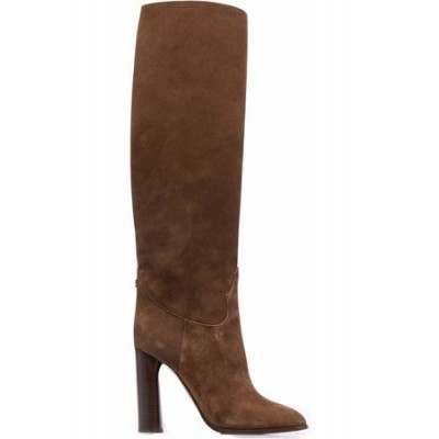 Women Casadei Knee-length high-heeled suede boots Brown Leather size 4.5 QTLO4660