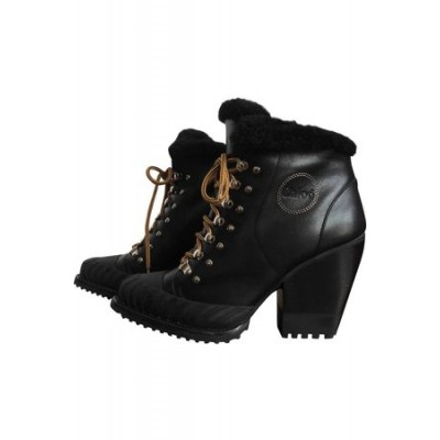 Women Chloé Leather snow boots Black Leather size 7.5 At Target CKXQ5918